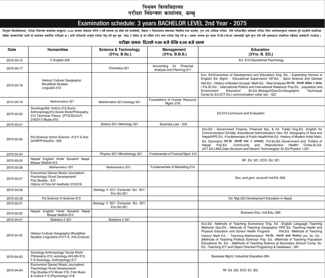 TU Bachelor 3 Years 2nd Year Exam Routine 2075 (2018) | Tribhuvan University