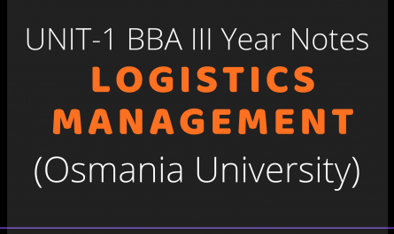 UNIT-1 BBA III Year Notes - Logistics Management (Osmania University)
