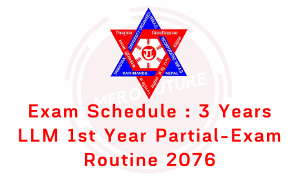 Exam Schedule : 3 Years LLM 1st Year Partial-2076
